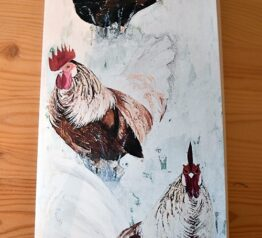 Chickens painting blank greeting card