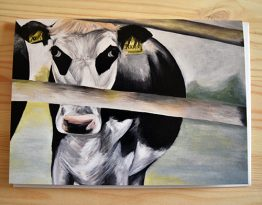 Cow at College Farm painting blank greeting card