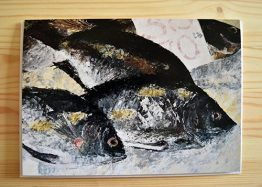 Fishes painting blank greeting card