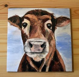 Mootful cow painting blank greeting card