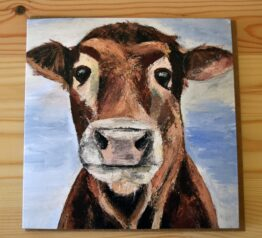 Mootful cow painting blank greeting card