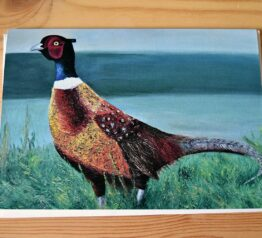 Pheasant painting blank greeting card