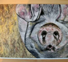 George the pig painting blank greeting card