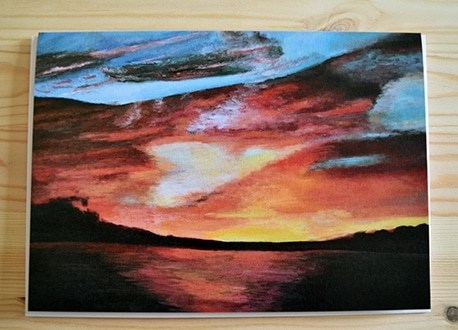 Sunset painting greeting card